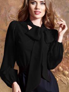 Шифоновая черная блуза