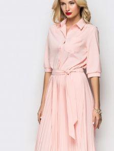 Необычное платье с рубашечным верхом и юбкой-плиссе
