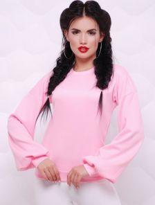 Розовая кофта с рукавом-фонариком и вырезом на спинке. Купить в ... bdcc4793df1