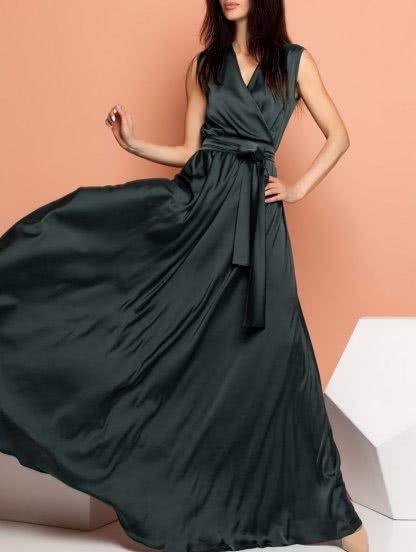 Черное длинное шелковое платье на праздник, фото 1