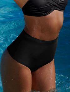 Черные купальные трусики с завышенной линией талии