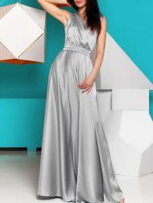 Роскошное платье стального цвета из королевского шелка