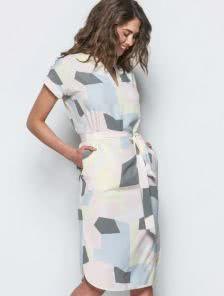Летнее платье в пастельных тонах под пояс длинны-миди