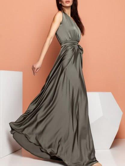 Длинное шелковое платье без рукавов, фото 1