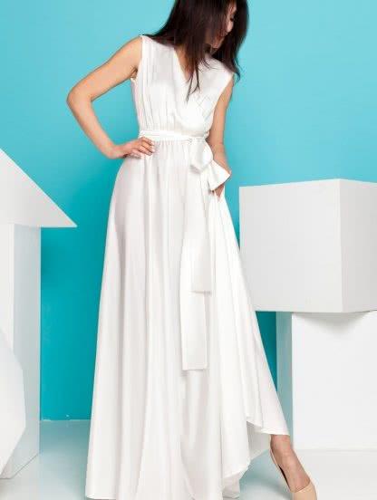 Роскошное платье молочного цвета из итальянского шелка, фото 1