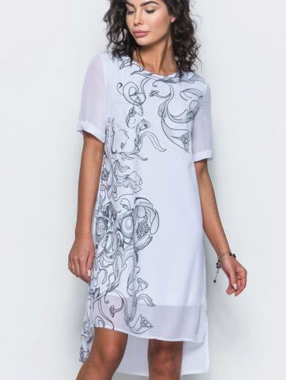 Белое легкое платье из шифона с цветочным принтом на короткий рукав, фото 1