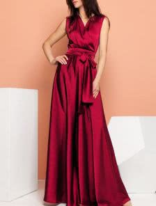 Винное длинное платье из шелка