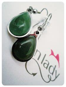 Зеленые сережки с нифритом