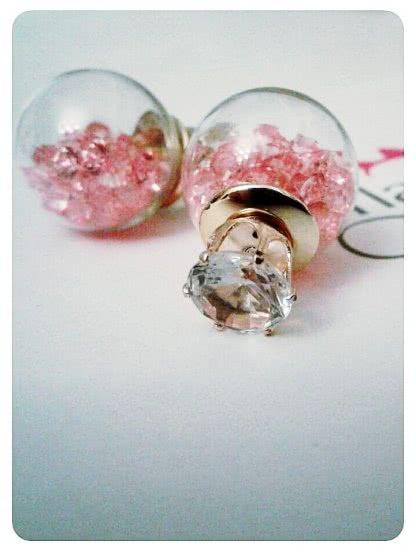 Прозрачные серьги с наполнителем из розовых страз