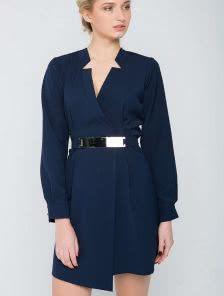 Синее платье пиджак с запахом