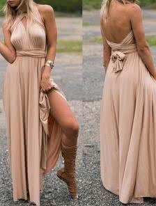 Эффектное платье-трансформер бежевого цвета