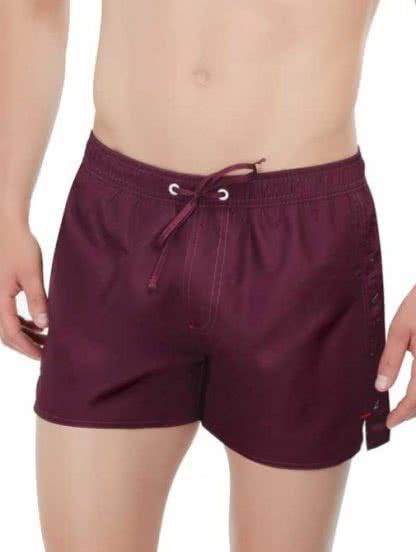 Мужские короткие пляжные шорты цвета марсала, фото 1