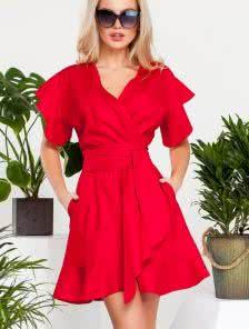 Шикарное платье с запахом изготовленое из натуральных тканей