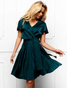 Зеленое платье с имитацией запаха из шелка Армани
