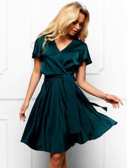 Нарядное короткое шелковое платье с коротким рукавом, фото 1