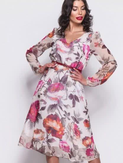 Шифоновое платье длины миди на длинный рукав с цветочным рисунком, фото 1