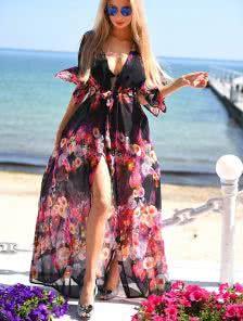 Пляжная шифоновая туника с принтом цветов на черном фоне