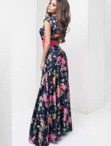 Волшебное цветочное платье в пол под пояс