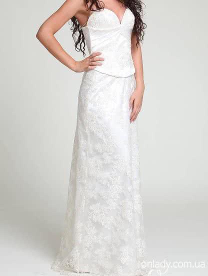 Белое кружевное платье с корсетом для невесты на свадьбу, фото 1