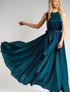 Изумрудное струящееся платье длиною в пол
