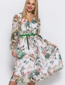 Воздушное платье из принтованного шифона в цветы