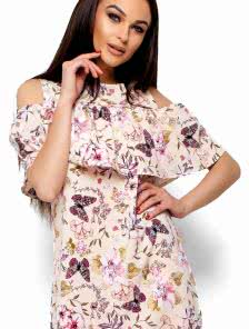 Платье А-силуэта из слегка тянущейся летней ткани с воланом