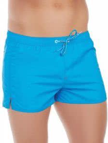 Мужские корткие пляжные шорты голубого цвета