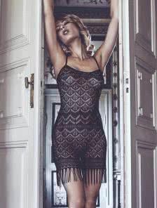 Сексуальное прозрачное черное платье