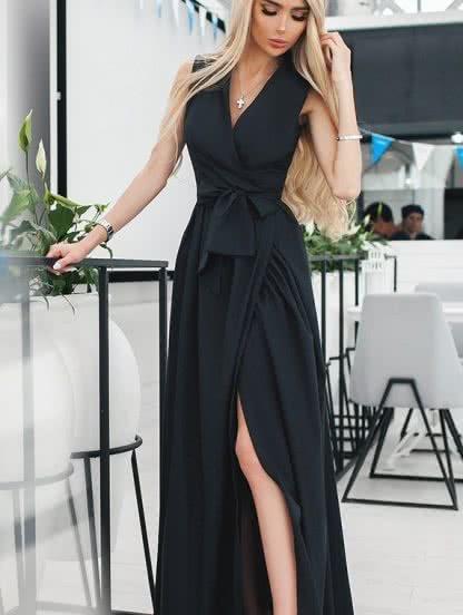 Длинное черное платье с запахом без рукавов, фото 1