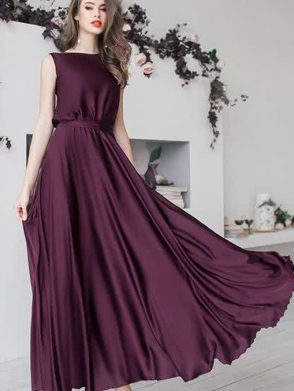 Струящееся платье цвета марсала длиною в пол, фото 1