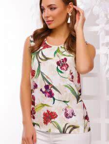 Блузка с ярким цветочным принтом
