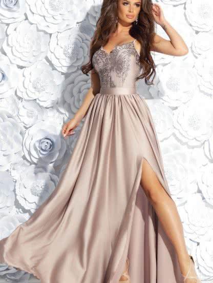 Бежевое вечернее платье с кружевом, фото 1