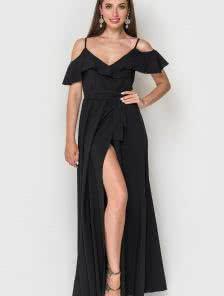 Черное длинное платье с большой юбкой