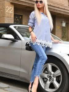 Хлопковая сорочка платье под джинсы