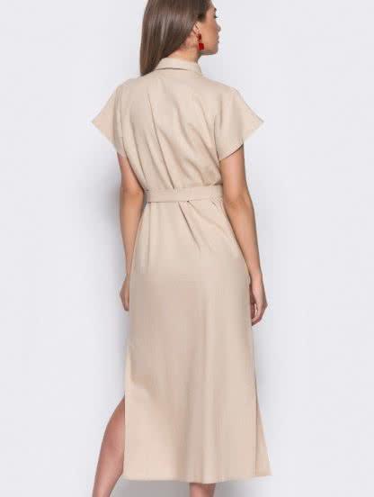 Льняное бежевое платье-рубашка в стиле сафари, фото 1