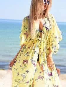 Шифоновая пляжная туника в желтом цвете с бабочками