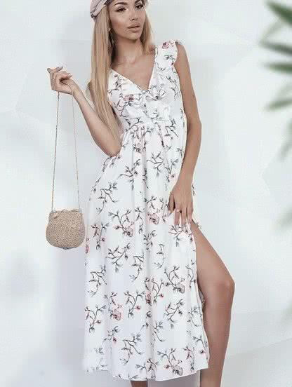 Длинное летнее светлое платье, фото 1