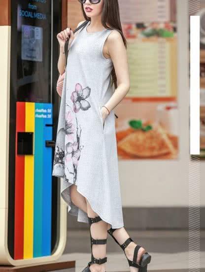 Свободное повседневное платье с цветами, фото 1
