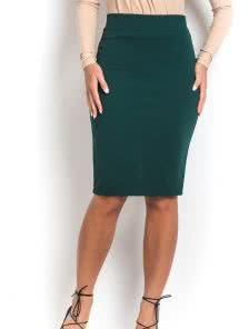 Зеленая юбка-карандаш с высокой посадкой на талии