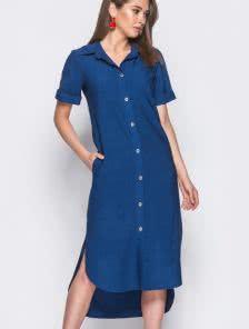 Синее платье-рубашка на пуговицах из льна