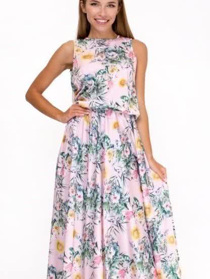 Легкое шелковое платье в пол с цветочным принтом, фото 1