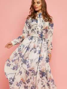 Шифоновое платье миди с длинными рукавами
