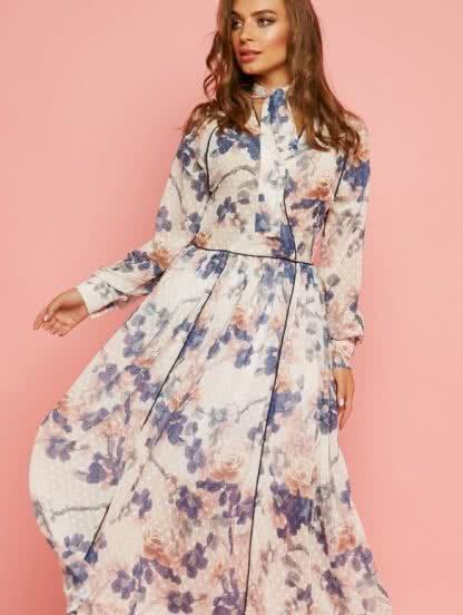 Шифоновое платье миди с длинными рукавами, фото 1