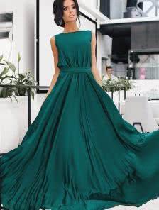 Изумрудное шелковистое платье в пол