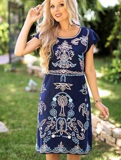 Синее летнее хлопковое платье с вышивкой длинны-мини, фото 1