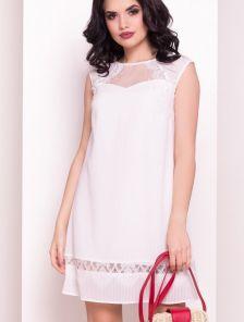 Летнее легкое белое платье трапеция с кружевом