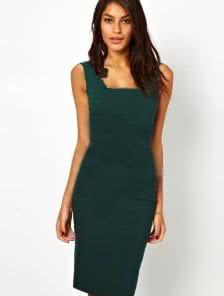 Зеленое платье-карандаш без рукавов