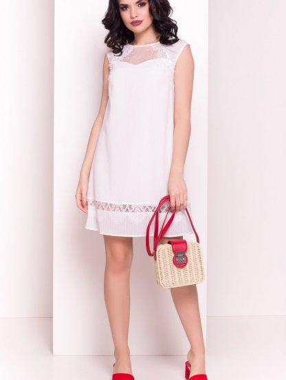 Летнее легкое белое платье трапеция с кружевом, фото 1