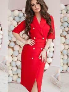 Офисное платье на запах в красном цвете под пояс