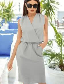 Серое офисное платье в деловом стиле с V-образным вырезом